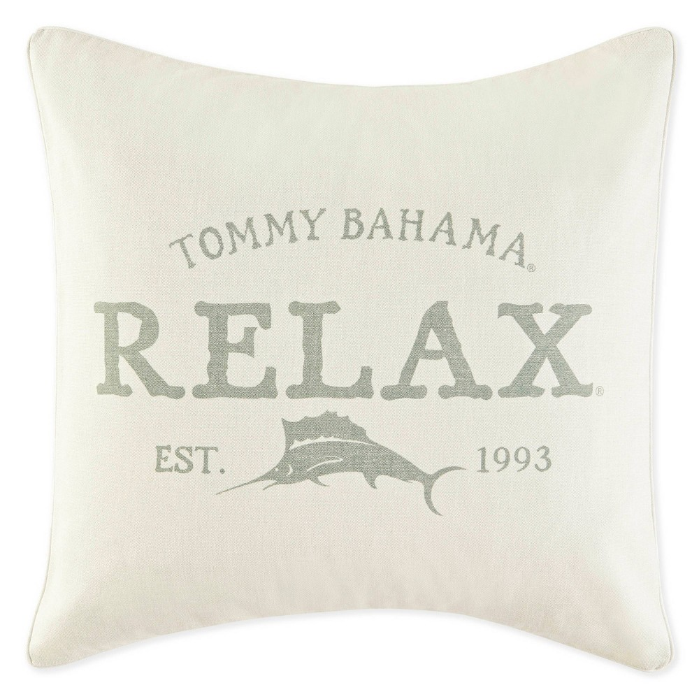 "Image of ""Relax By Tommy Bahama 18""""x18"""" Square Decorative Throw Pillow Gray"""