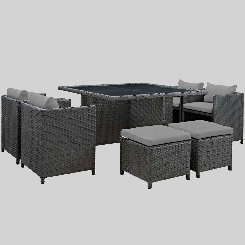 Sojourn 9pc Outdoor Patio Sunbrella Dining Set - Gray - Modway