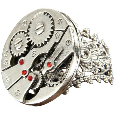 Elope Steampunk Watch Gears Silver Costume Ring Adult