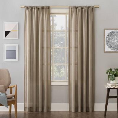 Linen Blend Textured Sheer Rod Pocket Curtain Panel - No. 918