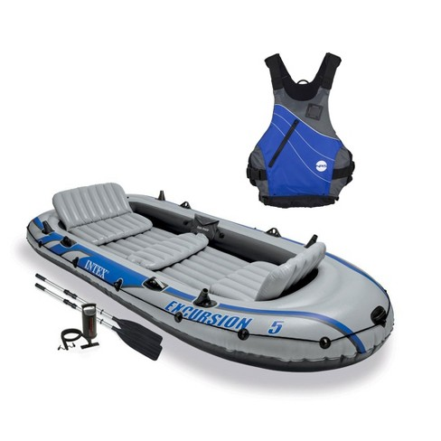 Intex Excursion 5 Person Inflatable Raft, 2 Oars & Blue Life Jacket, Large XL - image 1 of 4