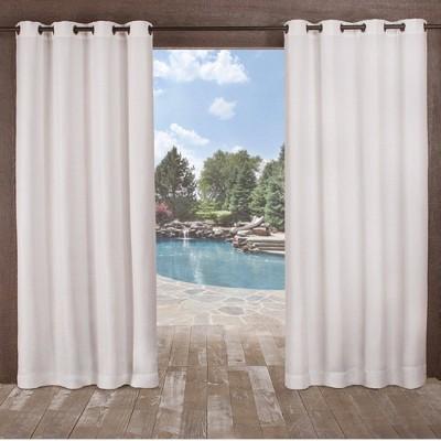 Delano Indoor/Outdoor Heavy Textured Grommet Top Light Filtering Window Curtain Panels - Exclusive Home