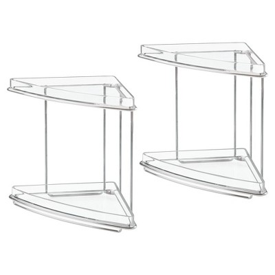 mDesign Metal Bathroom Vanity Corner Storage Caddy, 2 Pack