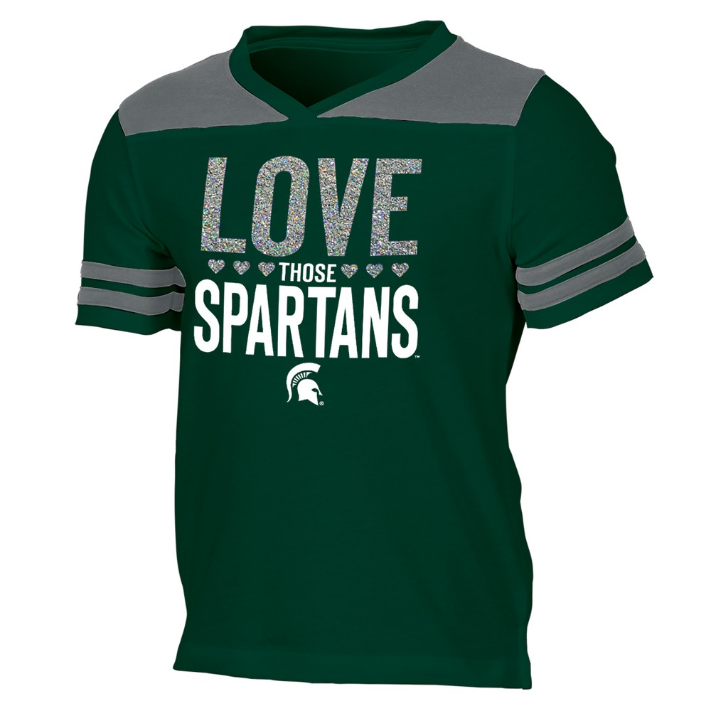 Michigan State Spartans Girls' Short Sleeve Team Love V-Neck T-Shirt XL, Multicolored