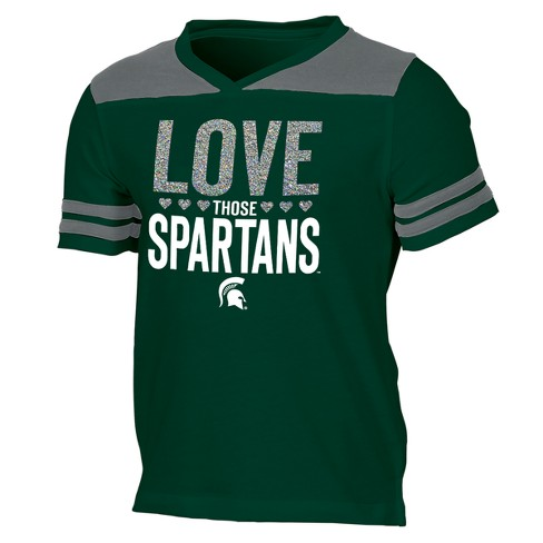Michigan State Spartans Girls' Short Sleeve Team Love V-Neck T-Shirt - image 1 of 2