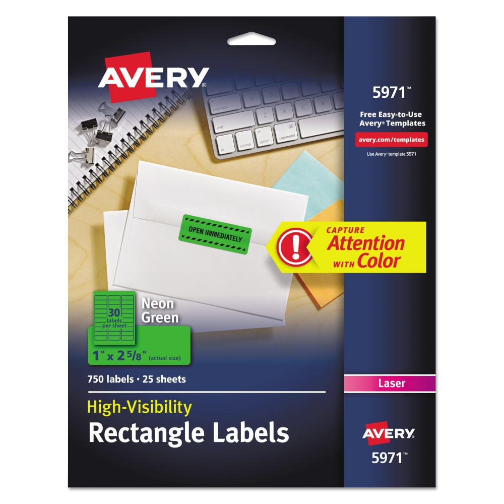 Avery 1 x 2-5/8 High-Visibility Laser Labels- Neon Green (750 per Pack)
