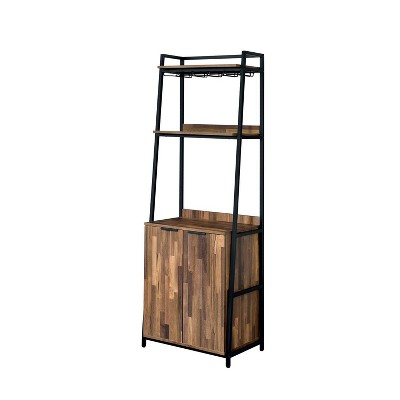 """74"""" Moniave Bookcase with Wine Glass Rack Oak/Black - HOMES: Inside + Out"""