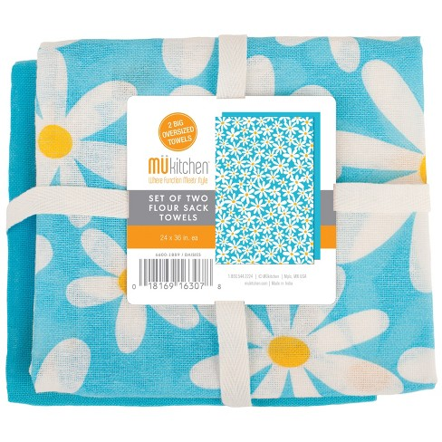 Kitchen Towel White And Blue Daisy Set of 2 - Mu Kitchen - image 1 of 2
