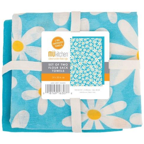 2pk Kitchen Towel White/Blue - Mu Kitchen