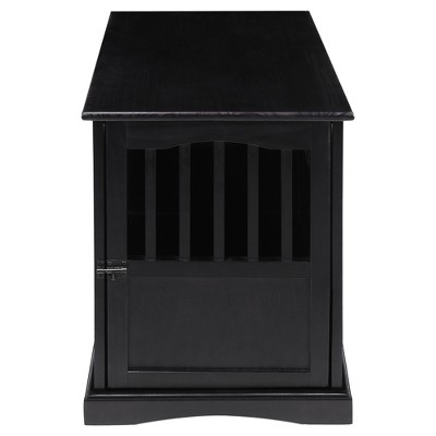 Dogs Pet Crate End Table Small - Black - Flora Home