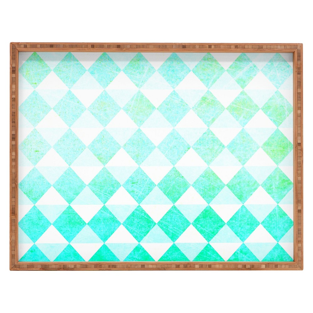 Decorative Hello Twiggs Spring Triangles Wooden Tray - Aqua (Blue) - Deny Designs