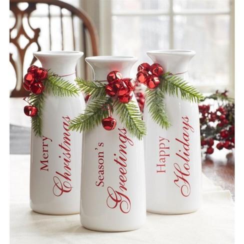 "Melrose Set Of 3 White Milk Bottle Christmas Decorations With Jingle Bells 9"" : Target"