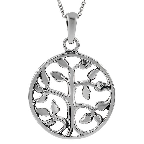 "Women's Journee Collection Round Tree of Life Pendant Necklace in Sterling Silver - Silver (18"") - image 1 of 3"