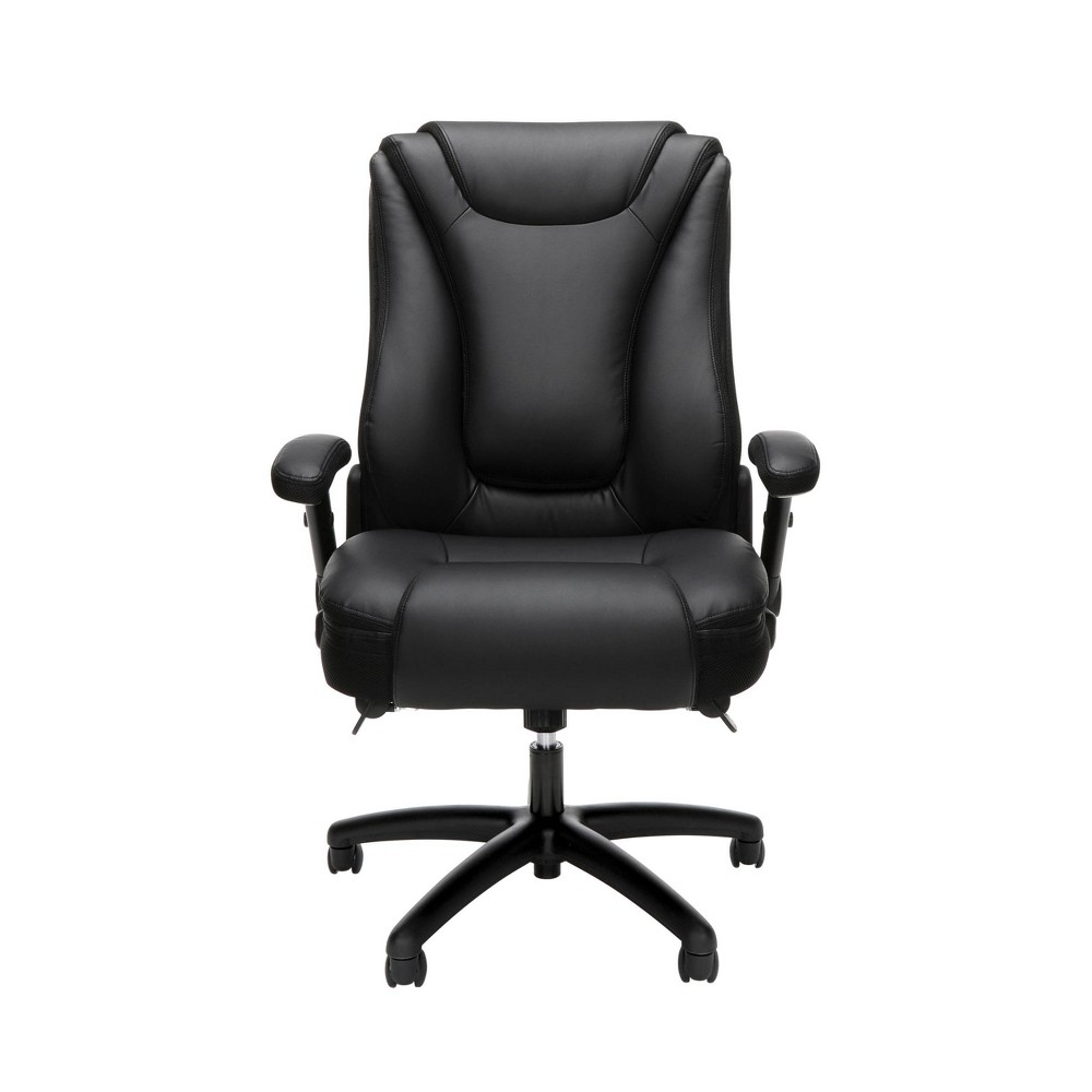 Ergonomic Executive Bonded Leather Upholstered Office Chair Black - Ofm