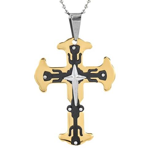 Men's Plated Stainless Steel Triple Layer Flare Cross Pendant Necklace - Gold - image 1 of 3