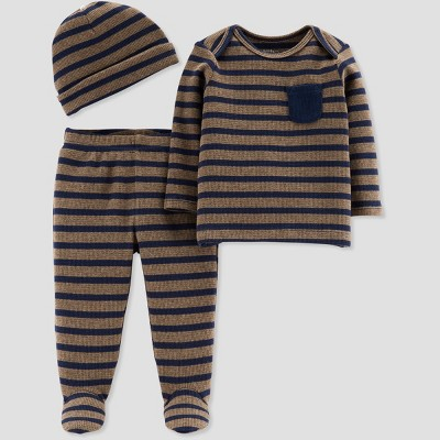 Baby Boys' 3pc Stripe Footed Set - Little Planet by Carter's Brown/Gray 3M