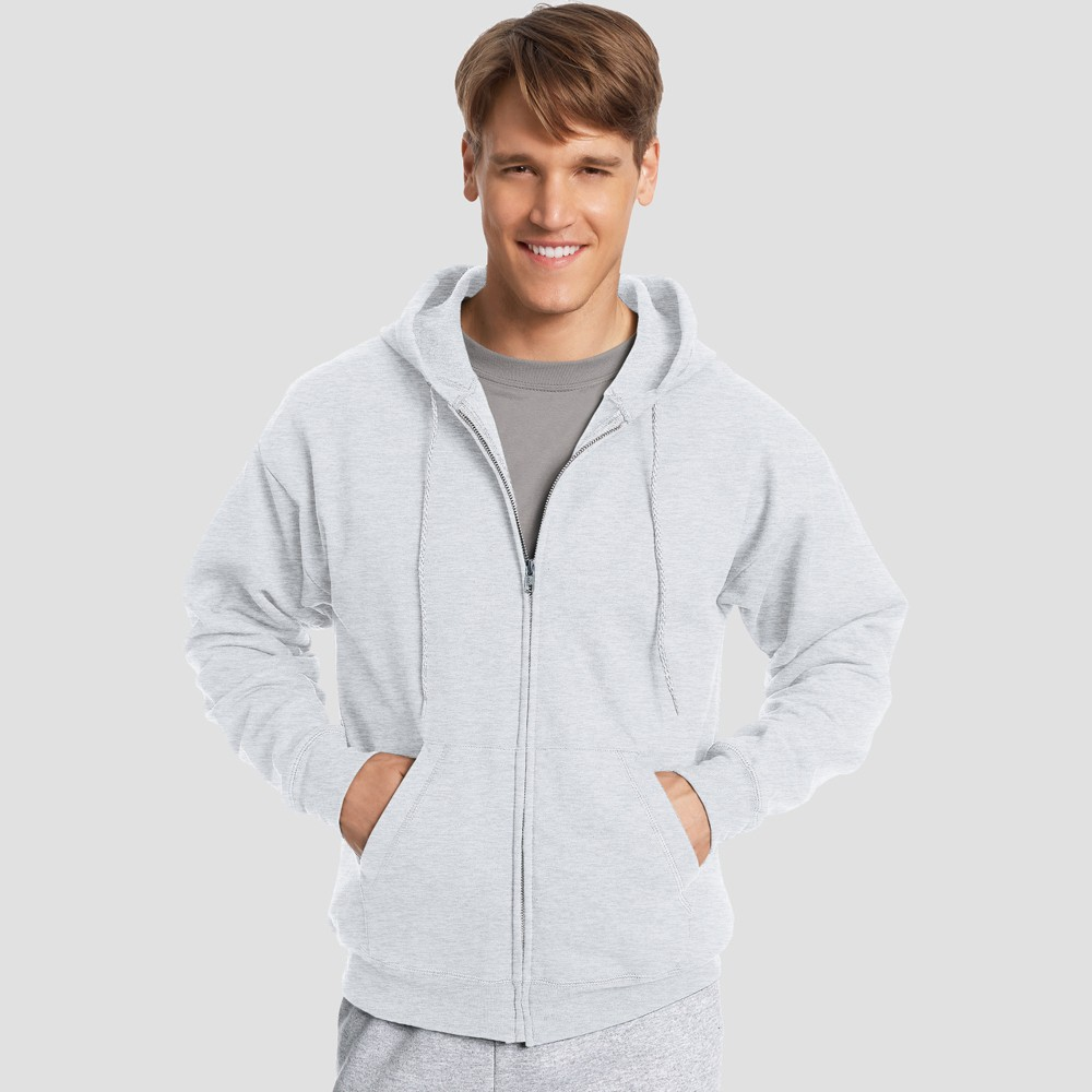 Hanes Men's EcoSmart Fleece Full Zip Hooded Sweatshirt - Ash (Grey) 2XL