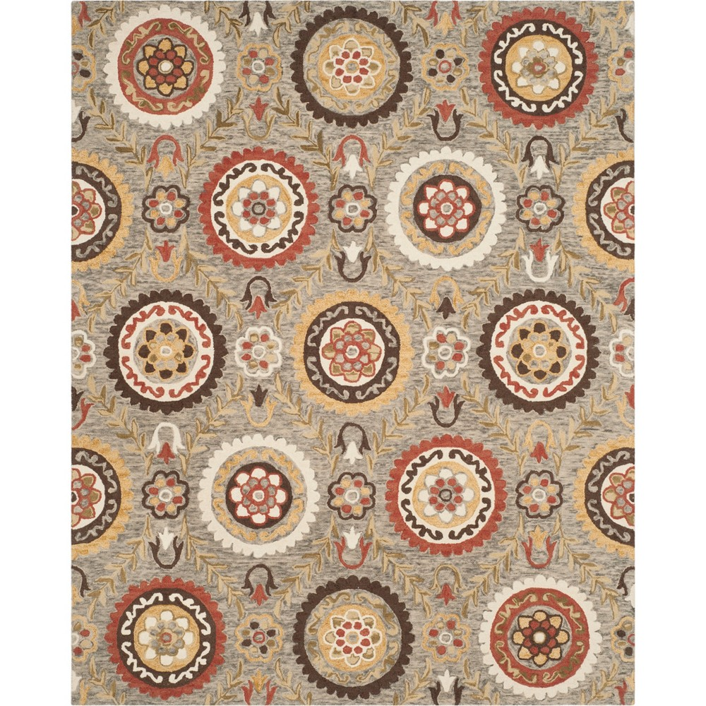 8'X10' Floral Hooked Area Rug Gray - Safavieh, Gray/Multi-Colored