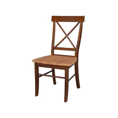 Set of 2 X Back Chairs with Solid Wood Seats Cinnamon/Espresso - International Concepts