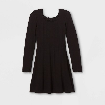 Girls' Square Neck Long Sleeve Knit Dress - art class™