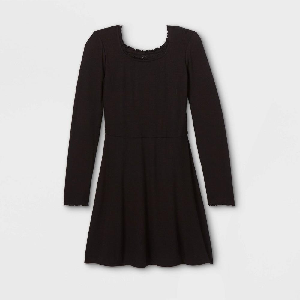 Girls 39 Square Neck Long Sleeve Knit Dress Art Class 8482 Black Xs