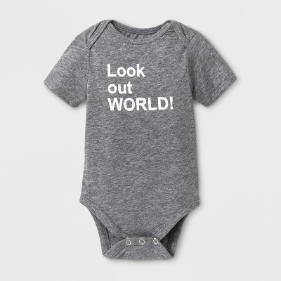 Baby Short Sleeve Look Out World! Graphic Bodysuit - Cat & Jack™ Gray 3-6M