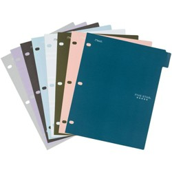 8ct Mead Five Star 3-hole Punched Color Pop Reversible Tab Divider Folder Set
