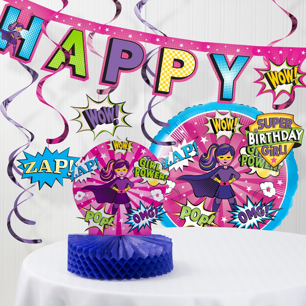 Girl Superhero Decorations Kit Party Kit Pink