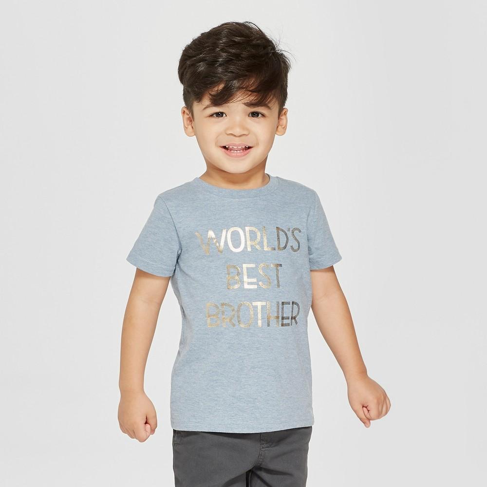 Toddler Boys' World's Best Brother Short Sleeve T-Shirt - Cat & Jack Blue 18 M, Size: 18M