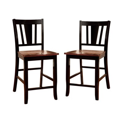 Set of 2 EarltonStriped Cutout Back Counter Height Barstools Red/Black - HOMES: Inside + Out