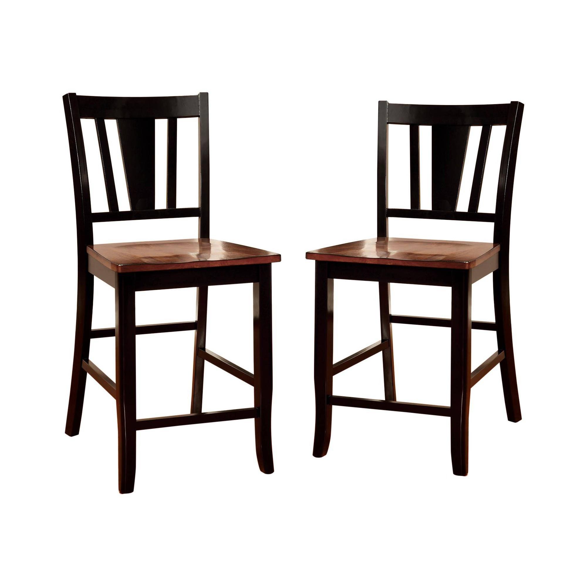 Set of 2 Earlton Striped Cutout Back Counter Side Chair Cherry/Black - Sun & Pine