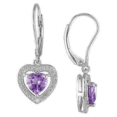 1.6 CT. T.W. Amethyst and .005 CT. T.W. Diamond Heart Shaped Leverback Earrings in Sterling Silver - Amethyst