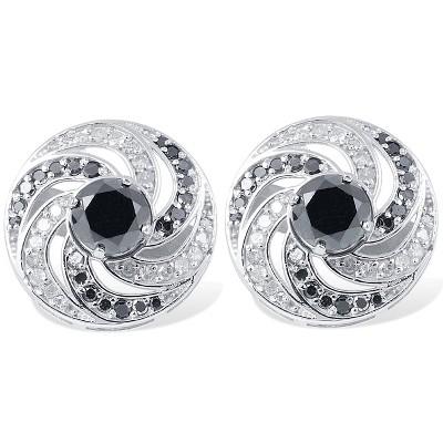 Pompeii3 Women's 3/4ct Black & White Diamond Studs & Earring Jackets 14K White Gold