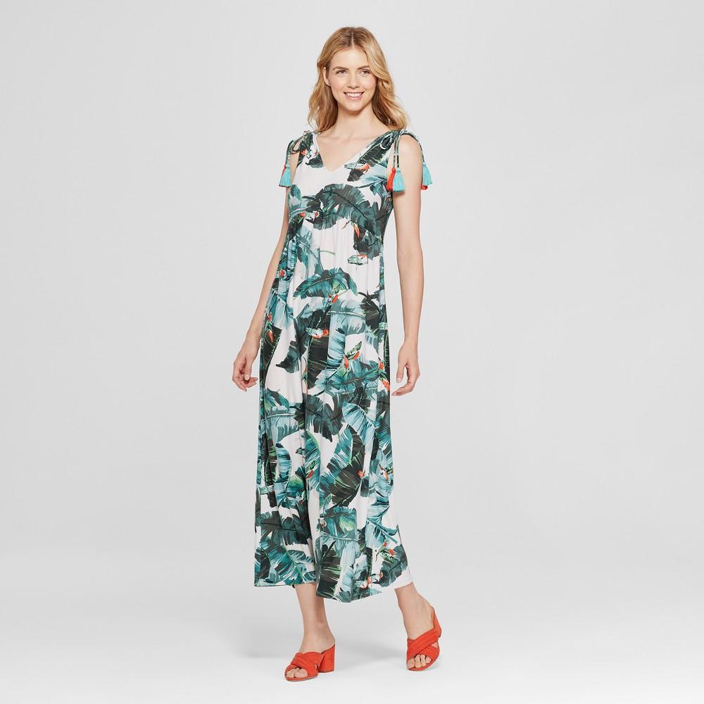 Women's Floral Print Tropical Tassel Maxi Dress - John Paul Richard - Green XL