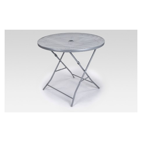 Metal Punch Folding Round Patio Bistro Table Silver Project 62