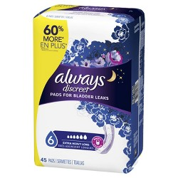 Always Discreet Incontinence Pads - Extra Heavy Absorbency - Long - 45ct
