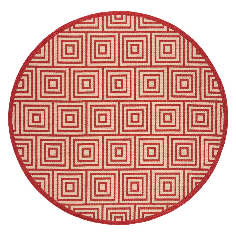 67 Geometric Loomed Round Area Rug Red/Cream - Safavieh Cheap