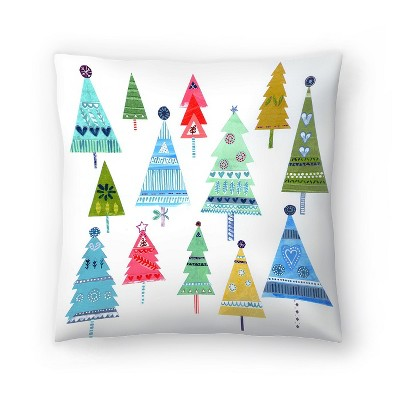 Americanflat Christmas Trees Collage by Liz And Kate Pope Throw Pillow