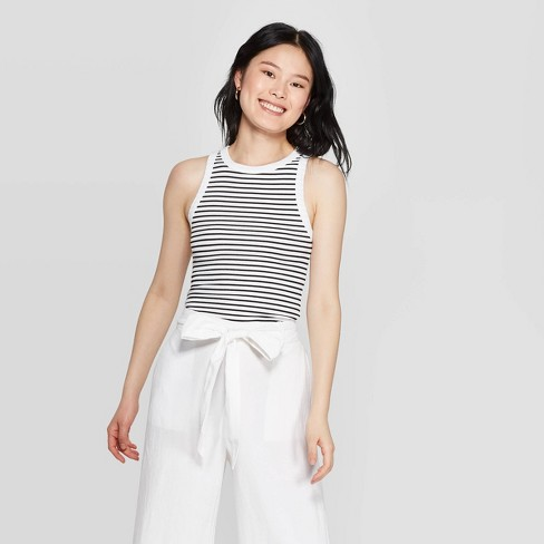 Women's Striped Regular Fit Round Tank Top - A New Day™ White/Black - image 1 of 6