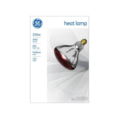 General Electric 250W BR40 Incandescent Heat Lamp Red