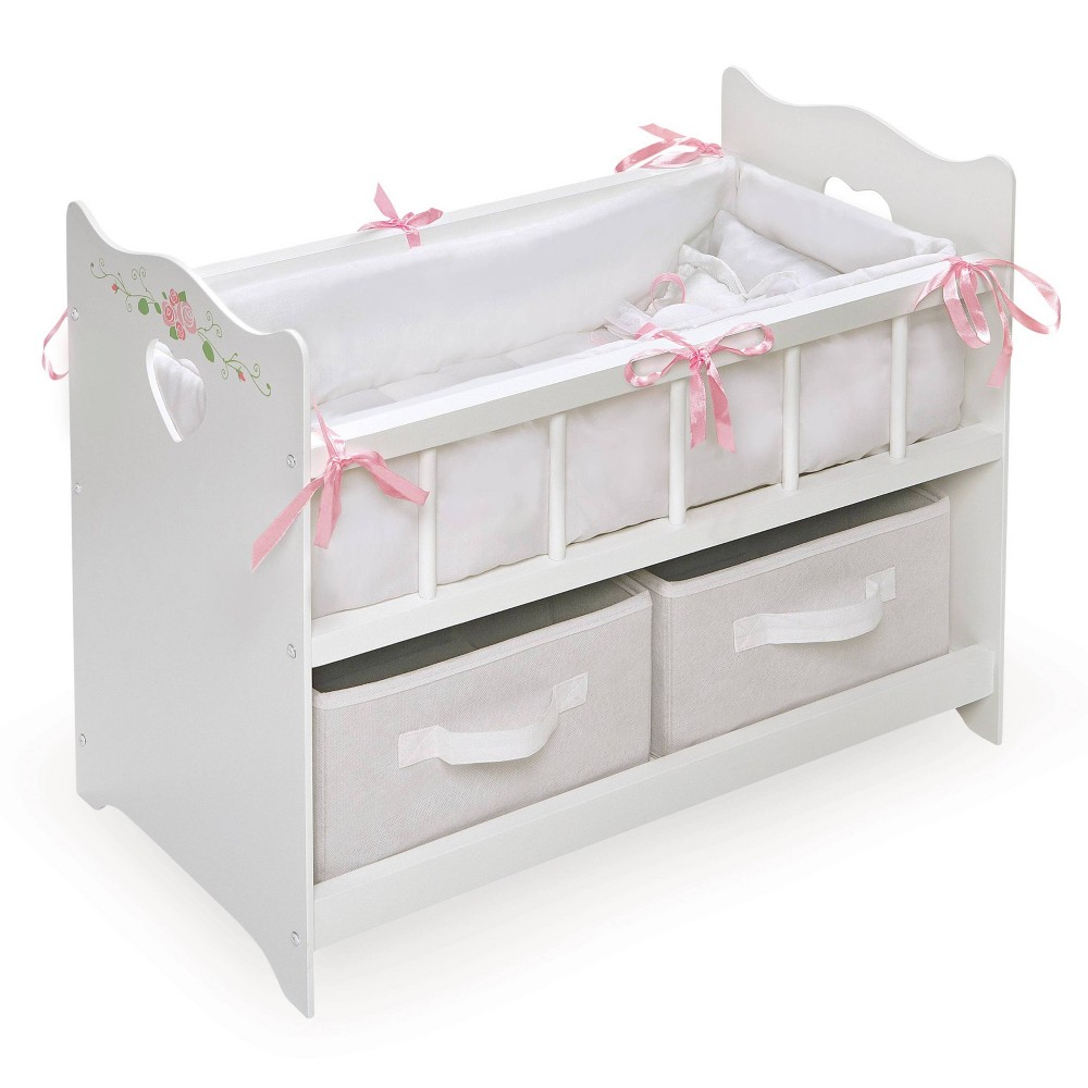 Badger Basket Doll Crib With Bedding Two Baskets And Free Personalization Kit White Rose