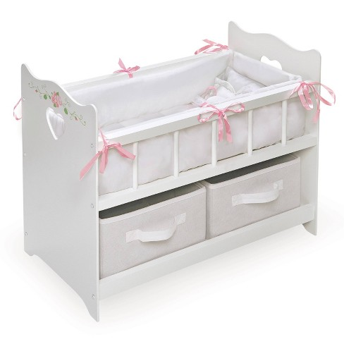Badger Basket Doll Crib with Bedding, Two Baskets, and Free Personalization Kit - White Rose - image 1 of 4