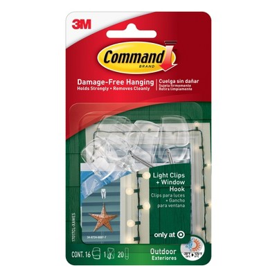Command 16 Clips 20 Strips Outdoor Light Clips with Foam All Weather Strips Decorative Hooks Clear