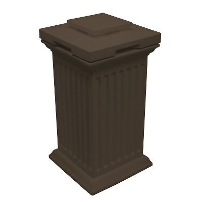 Good Ideas Savannah Outdoor Column 30 Gallon Polyethylene Storage and Waste Bin, Oak