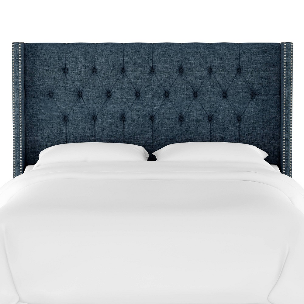 Queen Louis Diamond Tufted Wingback Headboard Dark Navy Linen with Pewter Nail Buttons - Skyline Furniture