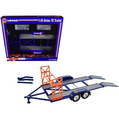 """Tandem Car Trailer with Tire Rack """"Union 76"""" Blue 1/18 Diecast Model by GMP"""
