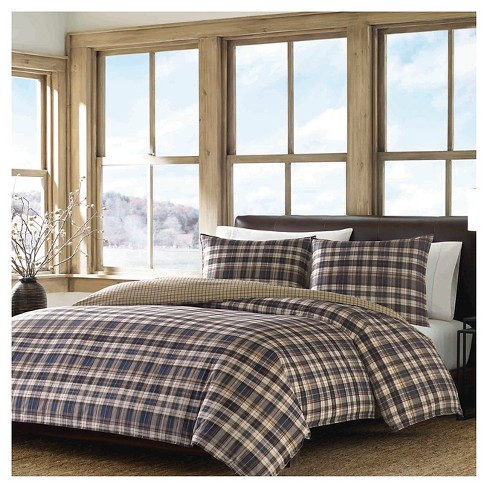 Port Gamble Plaid Duvet Cover And Sham Set Navy - Eddie Bauer® - image 1 of 4