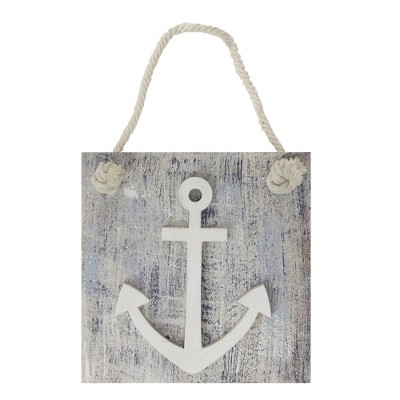 """Northlight 7.25"""" Blue and White Cape Cod Inspired Anchor Wall Hanging Plaque"""
