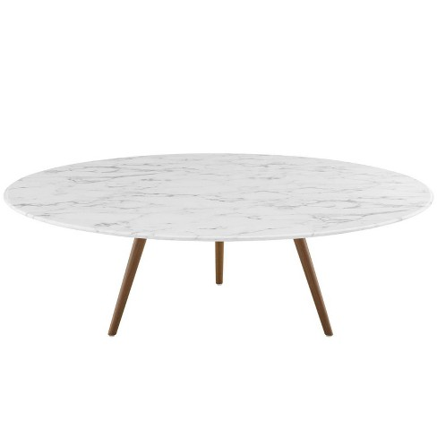 "47"" Lippa Round Artificial Marble Coffee Table with Tripod Base Walnut/White - Modway - image 1 of 4"