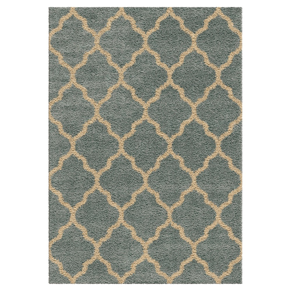 Blue Abstract Woven Area Rug - (5'3